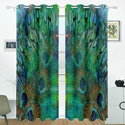 ALIREA Abstract Peacock Blue Background Blackout Curtains Da