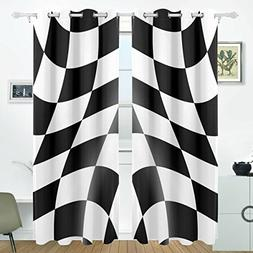 ALIREA Black And White Cheked Racing Flag Blackout Curtains
