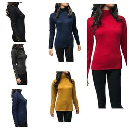 Cielo Women's Solid Stretch Turtleneck Buttons Pullover Knit