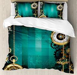 Ambesonne Industrial Duvet Cover Set Queen Size, Antique Ite