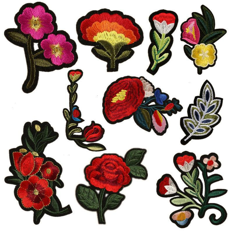 10pcs flower patches applique embroidered iron on