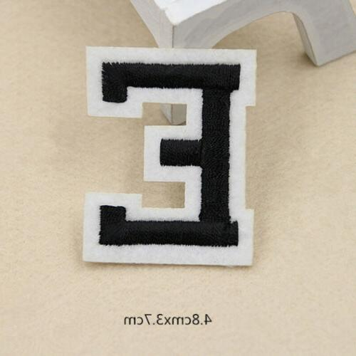 Black Bag Embroidered Clothing On Letter A-Z Patch Applique Accessories
