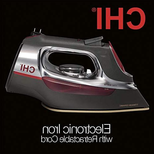 CHI Iron With Ceramic Soleplate & 400 Steam Holes, Professional Grade