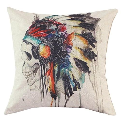 printing cushion cover watercolor skull