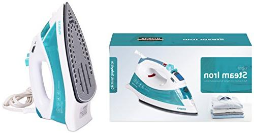 Utopia Home Digital Steam Iron with - Light Weight Powerful Dry Iron White/Teal Watt - by