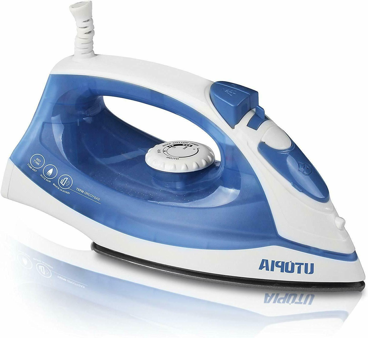 steam iron blue with nonstick soleplate also