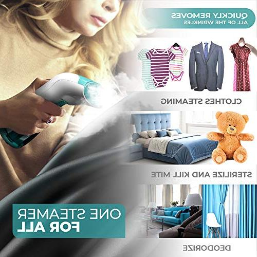 XROOL Clothes Mini Garment Steamer and Home - Spitting, Steam Iron Wrinkle for Any Fabric Dress, Long Cord Hand Held