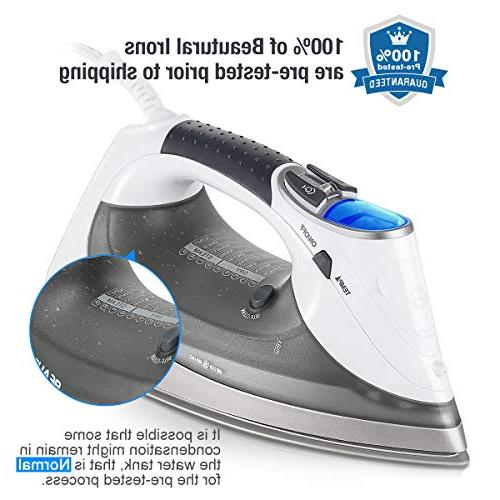 Beautural 1800-Watt Steam Iron with Digital Double Ceramic Coated 3-Way 9 Steam Fabric