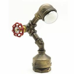 Industrial Steampunk LED Desk Lamp, Iron Piping Loft Style V