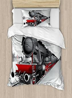 Ambesonne Steam Engine Duvet Cover Set Twin Size, Locomotive
