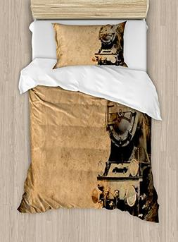 Ambesonne Steam Engine Duvet Cover Set Twin Size, Antique Ol