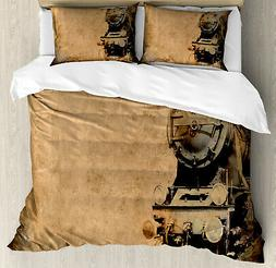 Steam Engine Duvet Cover Set with Pillow Shams Aged Iron Tra