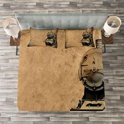 Steam Engine Quilted Bedspread & Pillow Shams Set, Aged Iron