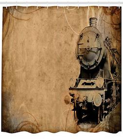 Steam Engine Shower Curtain Aged Iron Train Print for Bathro