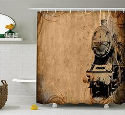 Ambesonne Steam Engine Shower Curtain Set, Antique Old Iron
