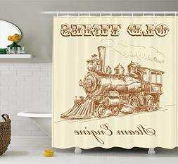 Ambesonne Steam Engine Shower Curtain, Old Times Train Vinta