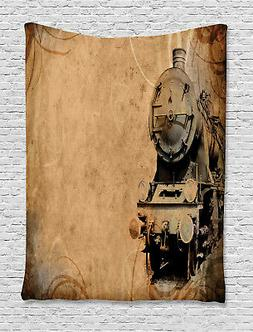 Steam Engine Tapestry Aged Iron Train Print Wall Hanging Dec