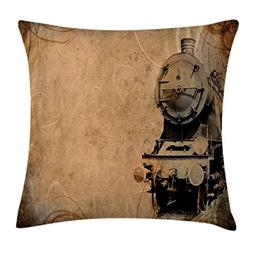 Ambesonne Steam Engine Throw Pillow Cushion Cover, Antique O