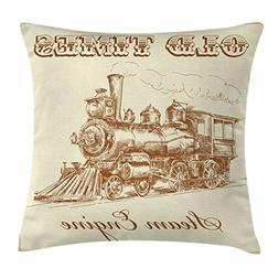 Ambesonne Steam Engine Throw Pillow Cushion Cover, Old Times