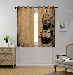 iPrint Stylish Window Curtains,Steam Engine,Antique Old Iron