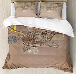 Ambesonne Whale Decor Duvet Cover Set, Steampunk Whale Flyin